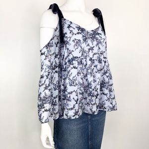 LOFT Ann Taylor | Blue Floral Cold Shoulder Blouse